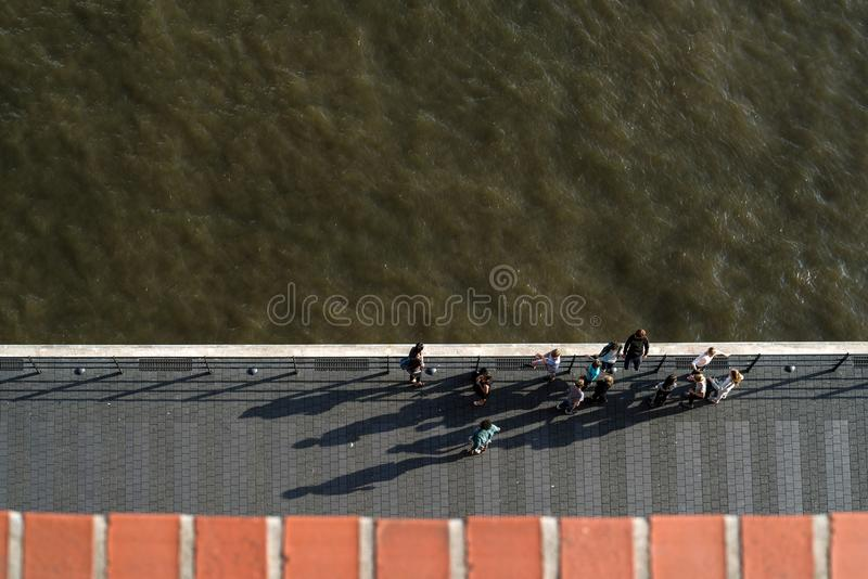 View of the Elbe from above. View of the Elbe in Hamburg from above royalty free stock image