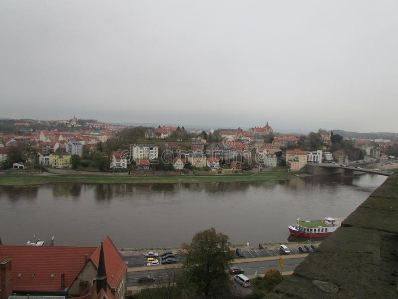 View of the Elbe River from the observation deck in Mason. royalty free stock images