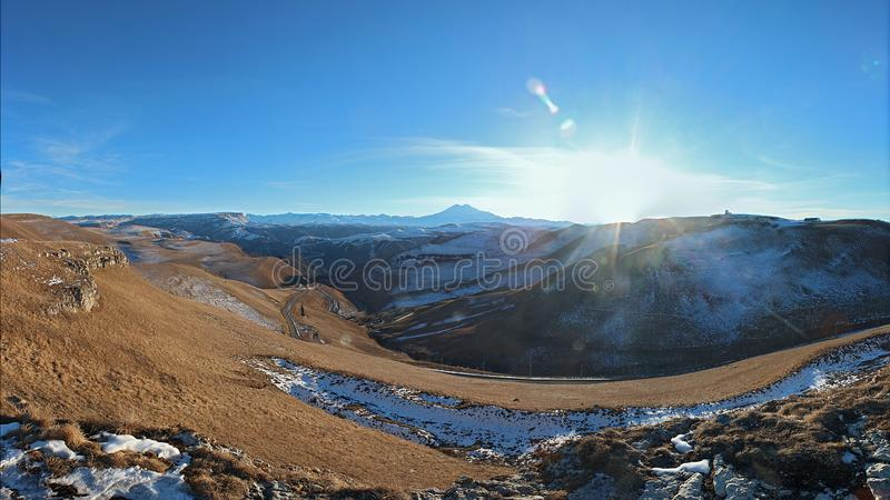 View of Elbrus from the observation platform. stock photography