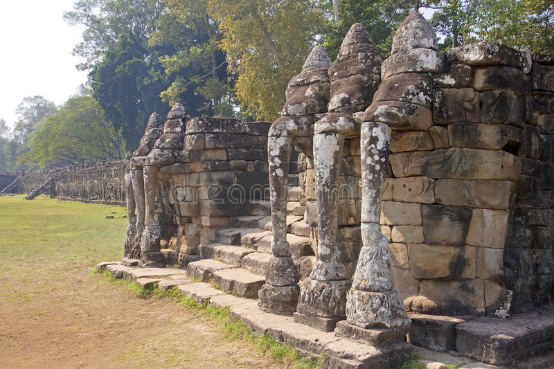 View of Elephant Terrace in Angkor Thom stock images