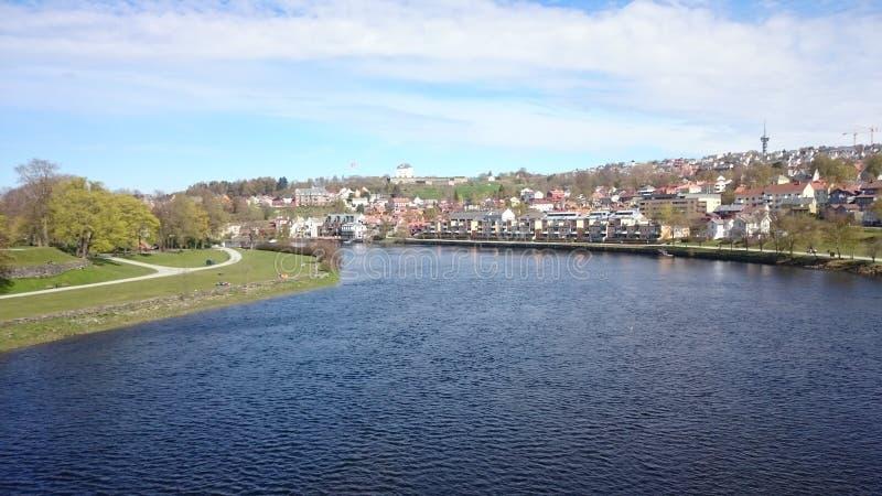 View from Elgeseter Bro in Trondheim, Norway. stock image