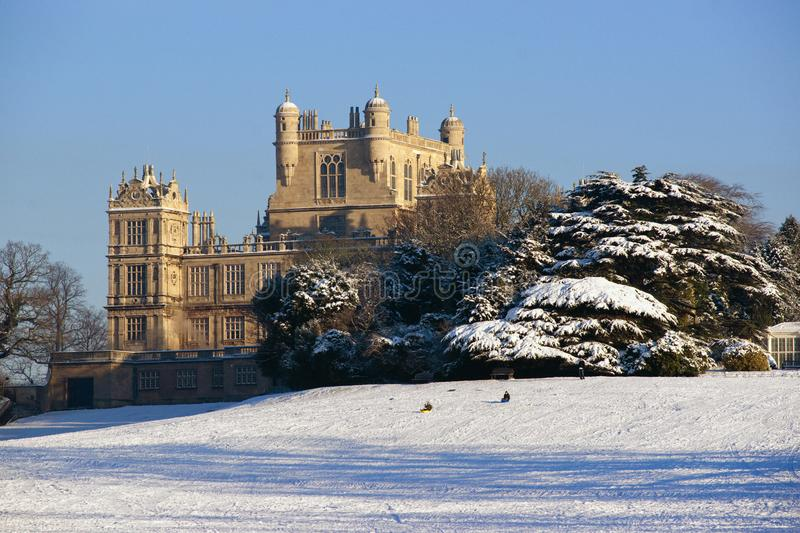 A view of the Elizabethan Wollaton Hall museum and gardens in the snow in winter in Nottingham, Nottinghamshire taken 3rd December stock photos