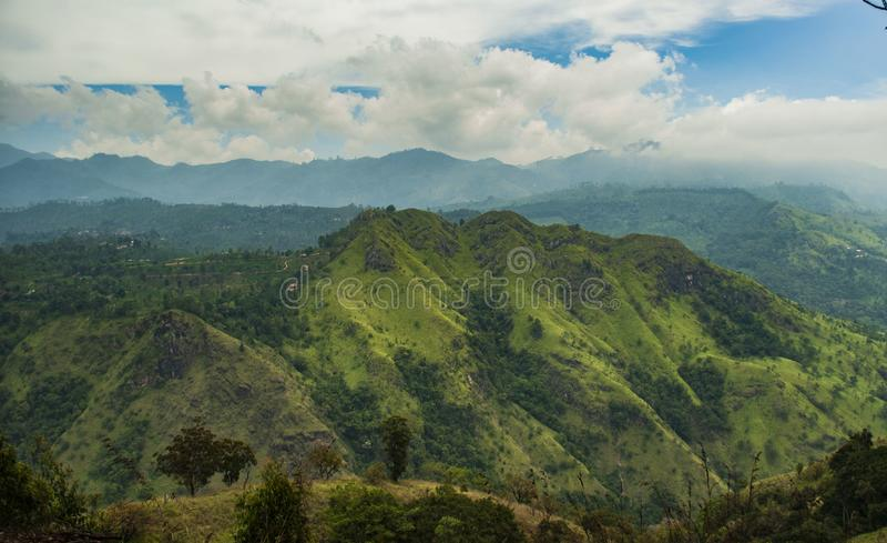 View from Ella rock over little adam`s peak in Sri Lanka stock photography