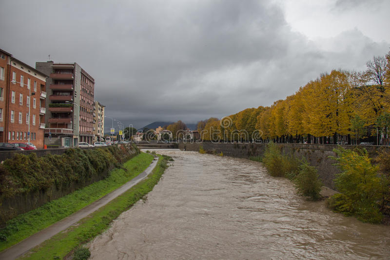View at embankment of Bisenzio River. Prato. Tuscany. Italy. stock photos