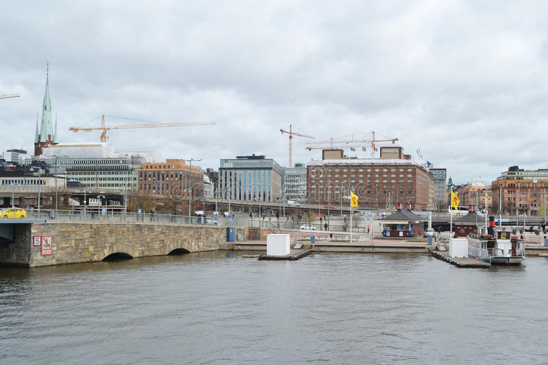 View of embankment in center part of Stockholm. stock images