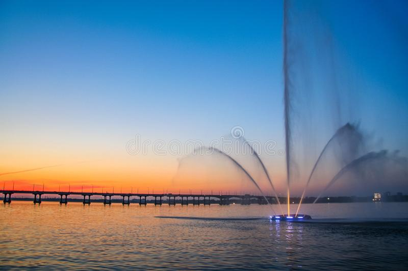View from the embankment of the evening city of Dnepr. Dnieper River, Dnieper city, Unraina. June 2012 royalty free stock images