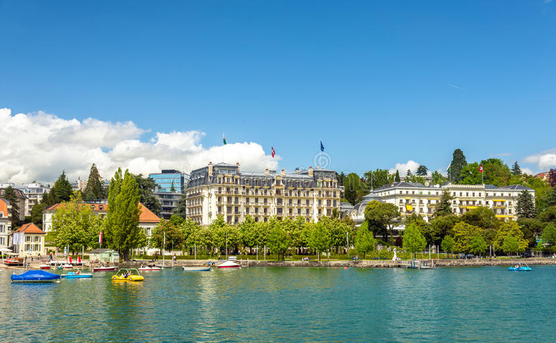 View of embankment in Lausanne. Switzerland royalty free stock image