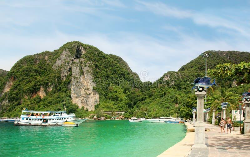 The embankment, Phi Phi Don, Ao Nang, Tonsai Bay, Thailand stock photography