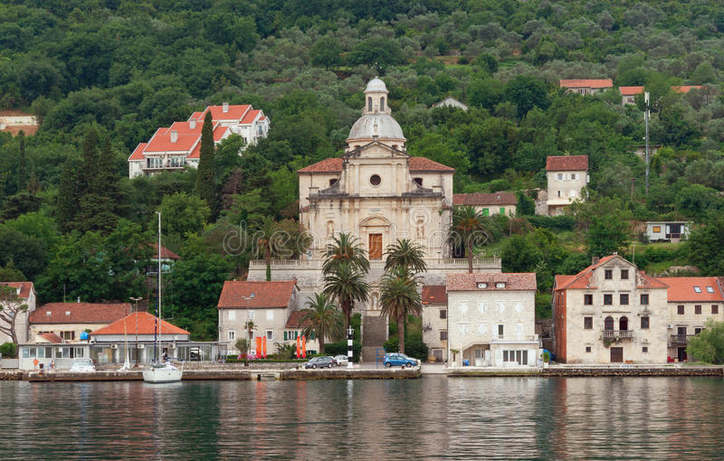 View of embankment of Prcanj city from the sea.Montenegro royalty free stock photo