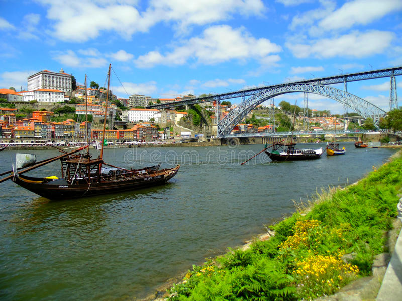 View from the embankment of the river Douro. Walk around city Porto. View of the bridge and river Douro. Porto - the second largest after Lisbon city in Portugal stock images