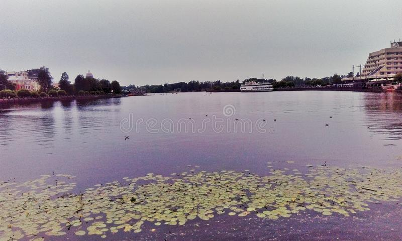 View from the embankment, Vyborg stock photos