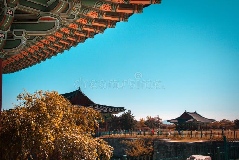 Tourist at Donggung Palace and Wolji Pond in Gyeongju, South Korea. View of the Emperor`s Donggung Palace and Wolji Pond in Gyeongju, South Korea. The Gyeongju royalty free stock photo