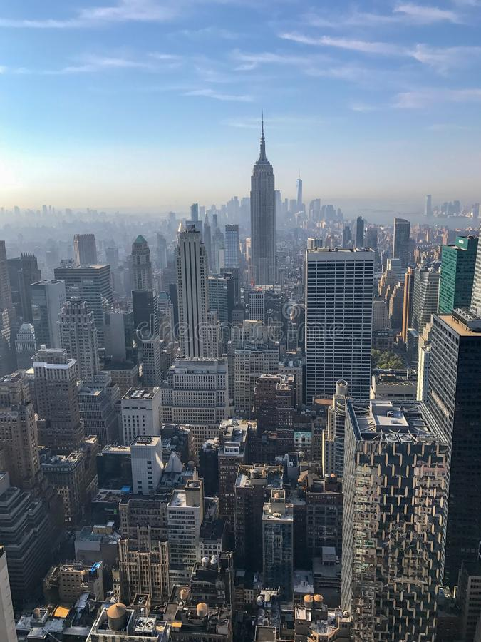 View of empire state building, iconic building, and amazing skyscrapers of Manhattan stock photography