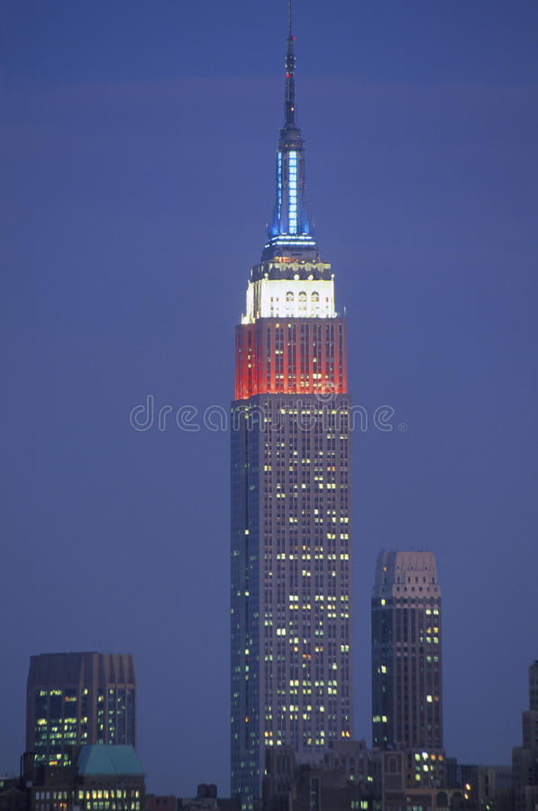 View of Empire State Building lit up in remembrance of September 11, 2001 from Weehawken, NJ royalty free stock photography