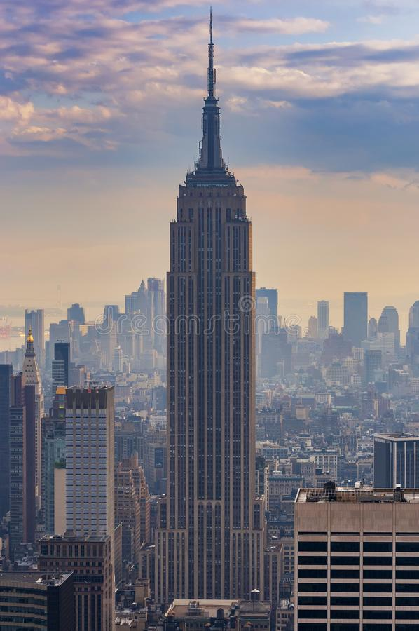 View of  the Empire State Building and the Manhattan skyline in New Your City stock photos