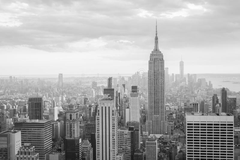 View of the Empire State Building and Midtown Manhattan skyline in New York City stock photo