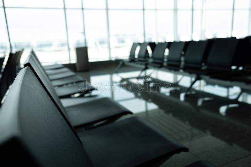 View of an empty chairs in an airport stock image