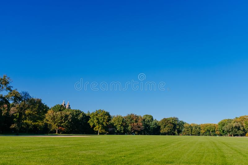 View of empty Great Lawn of Central Park under clear blue sky, in New York City, USA. View of empty Great Lawn of Central Park under clear blue sky, in Manhattan stock images