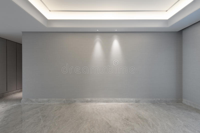 View into an empty living room. With one door stock image