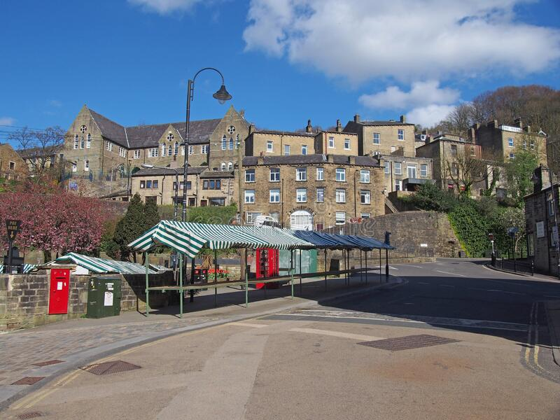 A view of the empty market and surrounding buildings in hebden bridge stock images