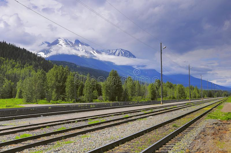 View of the empty Smithers railway station. British Columbia. Canada royalty free stock photo