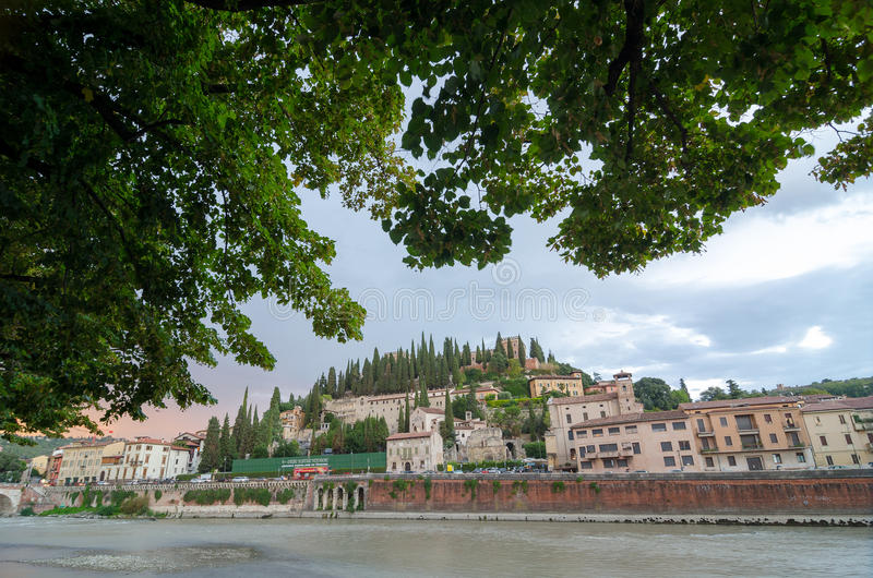 View of enbarkment and San Pietro castle in Verona. Verona, Italy - September 5, 2015: View of enbarkment and San Pietro castle in Verona, Italy royalty free stock photo