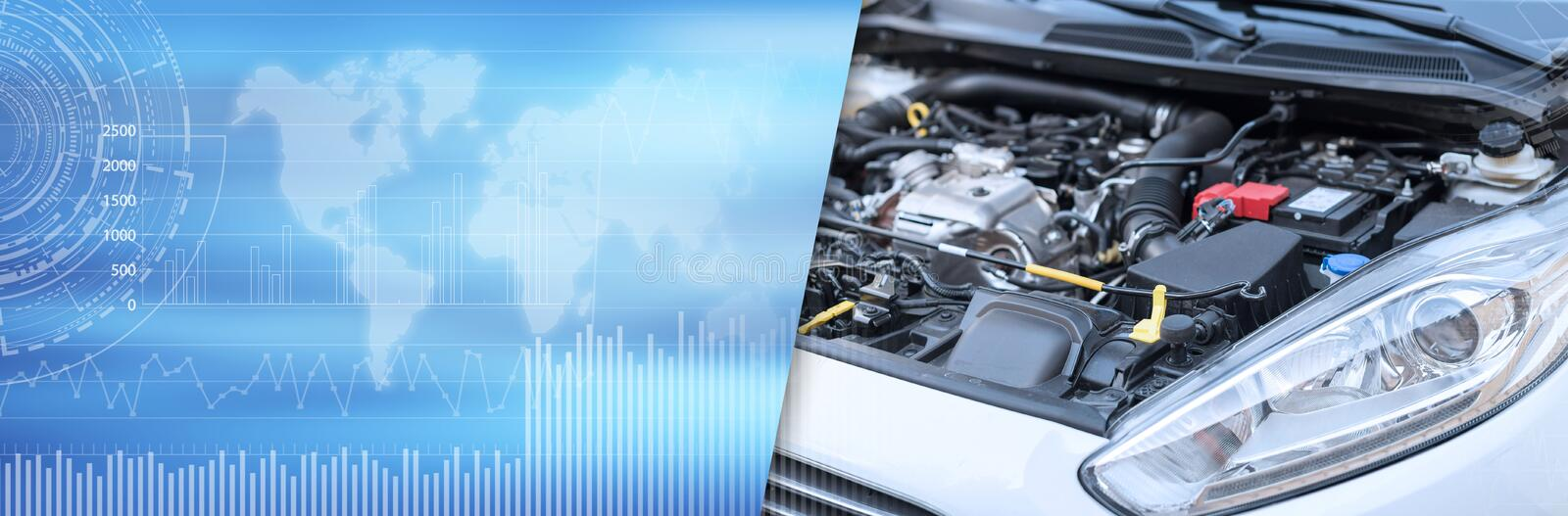 View of engine compartment; panoramic banner. View of clean engine compartment; panoramic banner stock images