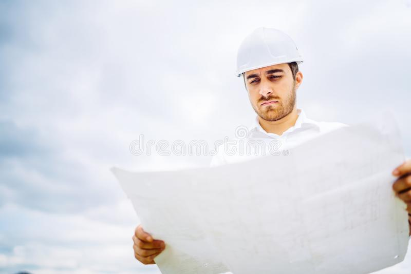 engineer working on construction site. civil engineering details stock photos