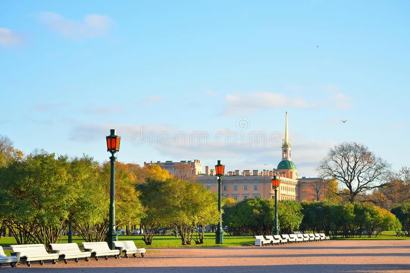 View on the Engineering (Mikhailovsky) castle and street lights. In the campus Martius in autumn on a Sunny day. Architecture and the urban landscape stock images