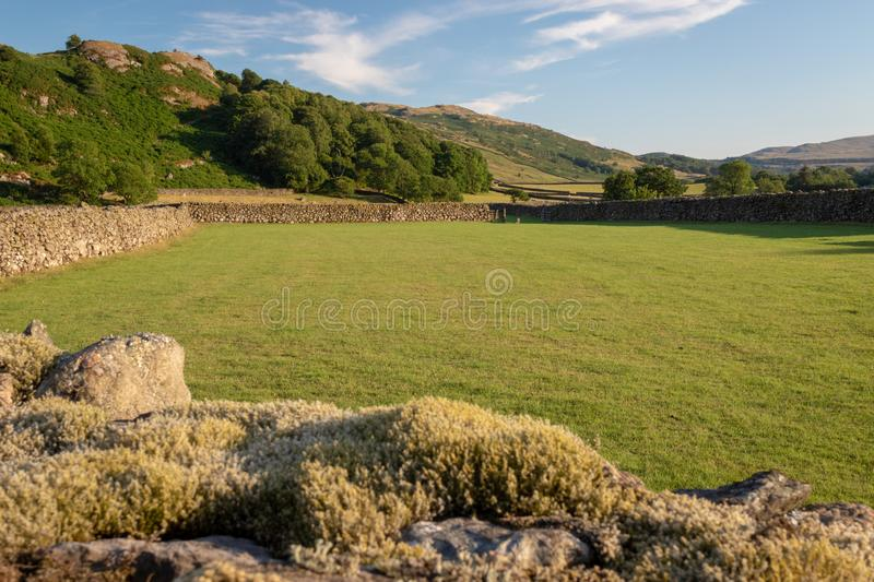 View of English rural countryside on beautiful sunny evening, pa. Sture in the Duddon Valley in the Lake District royalty free stock photo