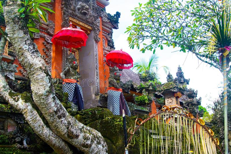 View on entrance of colorful Hindu temple on Bali royalty free stock image