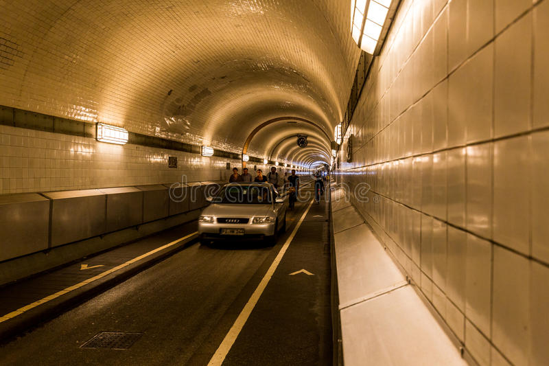 View of the entrance portal and the tunnel called Elbtunnel at t royalty free stock photography