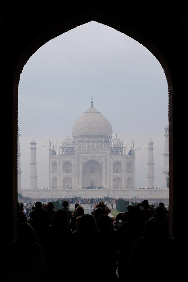 View From the Entrance of Taj Mahal on a Foggy Morning royalty free stock image