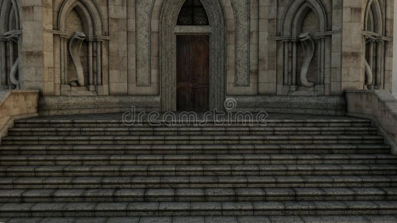 View of the entrance to the mysterious castle with stairs and statues. Night stock illustration