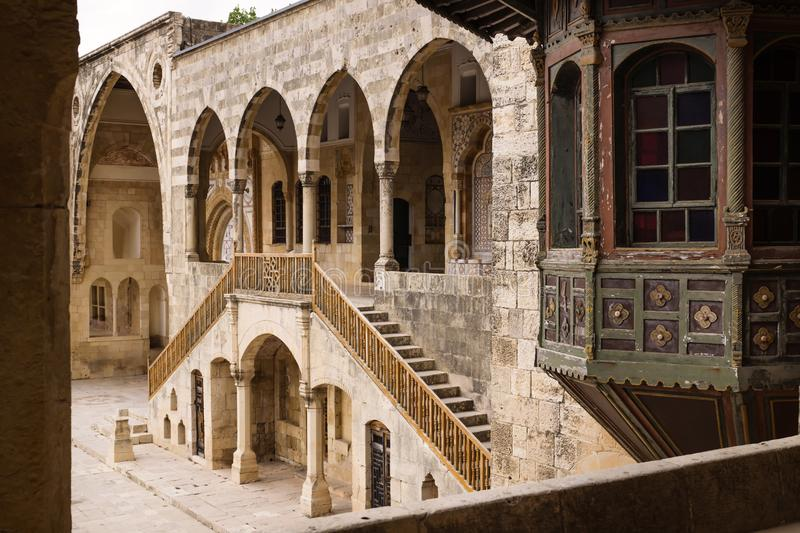 View on entrence of Emir Bachir Chahabi Palace Beit ed-Dine in mount Lebanon Middle east, Lebanon. View on entrence of Emir Bachir Chahabi Palace Beit ed-Dine in royalty free stock image