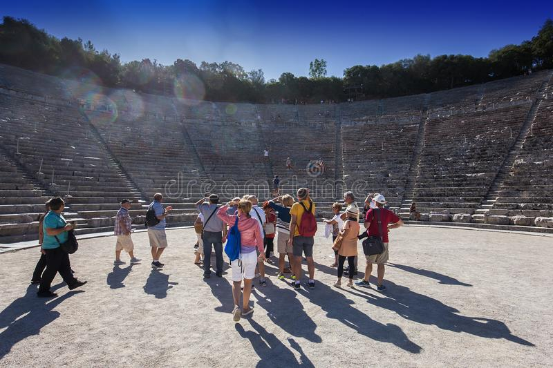 Theatre of Epidaurus, Peloponnese, Greece royalty free stock images