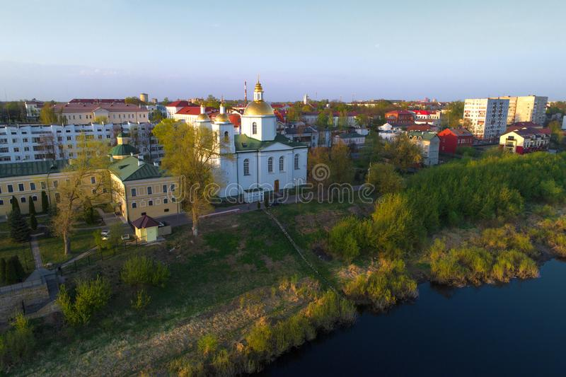 Epiphany Cathedral shooting from a quadrocopter. Polotsk, Belarus. View of the Epiphany Cathedral on April evening shooting from a quadrocopter. Polotsk, Belarus stock image