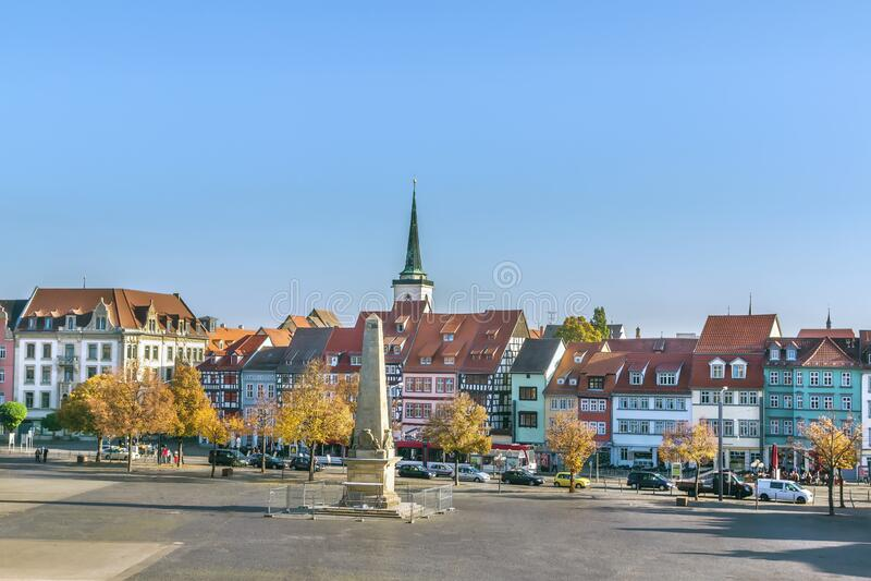 View of Erfurt, Duitsland stock foto