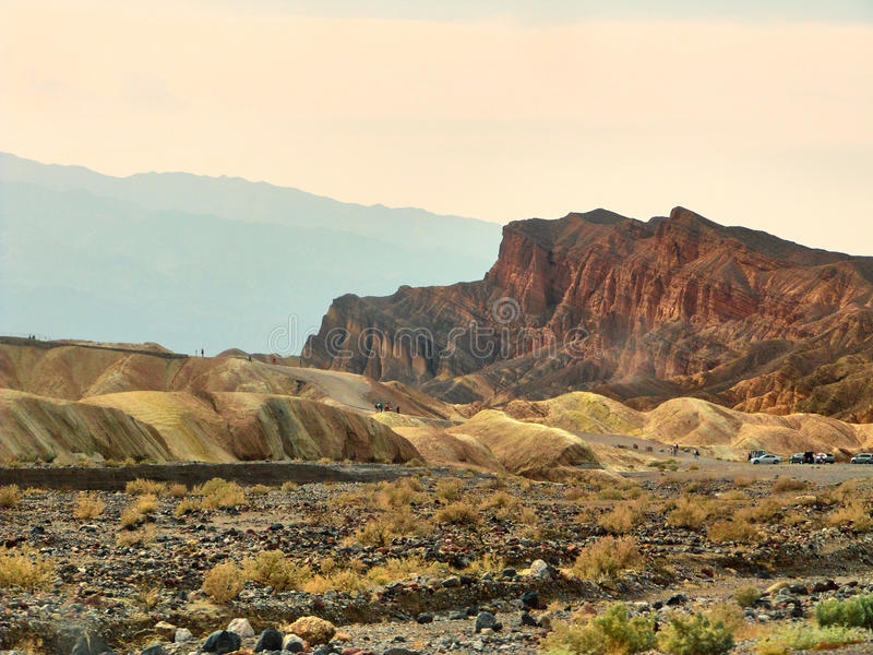 View of the erosional landscape in Zabriskie Point - Death Valley, California royalty free stock images