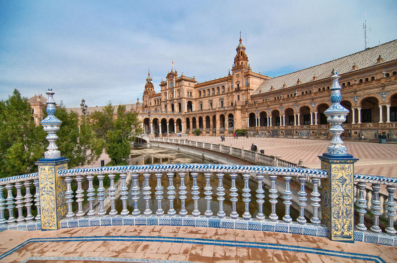 View of the España square in Sevilla, Spain. View of the España square and one of the bridges and the channel in Sevilla, Spain royalty free stock photos
