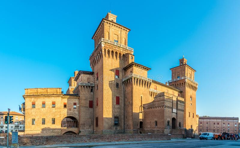 View at the Estense Castle of Ferrara in Italy royalty free stock photography