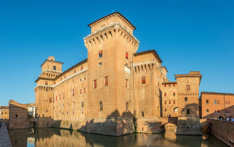 View at the Estense Castle with moat in Ferrara - Italy stock photos