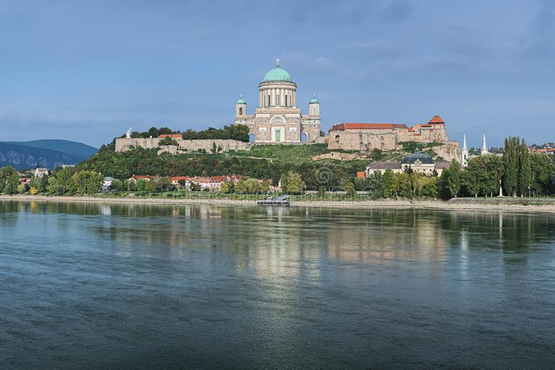 Esztergom Basilica, Hungary. View of the Esztergom Basilica at the Castle Hill from the opposite bank of Danube, Hungary. The Latin motto on the temple frieze stock photography