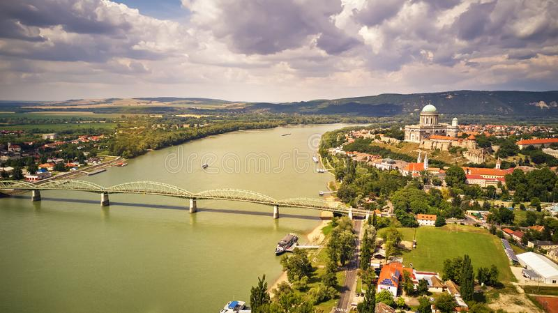 View from Esztergom Basilica is an ecclesiastic basilica in Esztergom, Hungary. The mother church of the Archdiocese of Esztergom-Budapest, and the seat of the stock photography