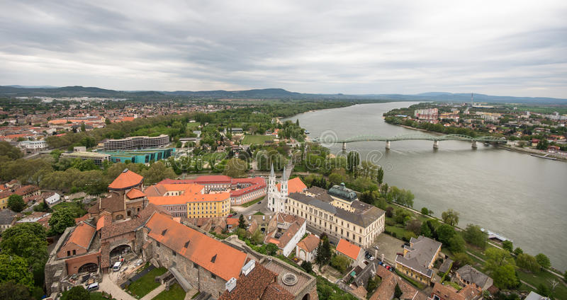 View from Esztergom Basilica, Esztergom, Hungary. View of the Danube river and Marie Valerie bridge from Esztergom Basilica, Esztergom, Hungary royalty free stock photography