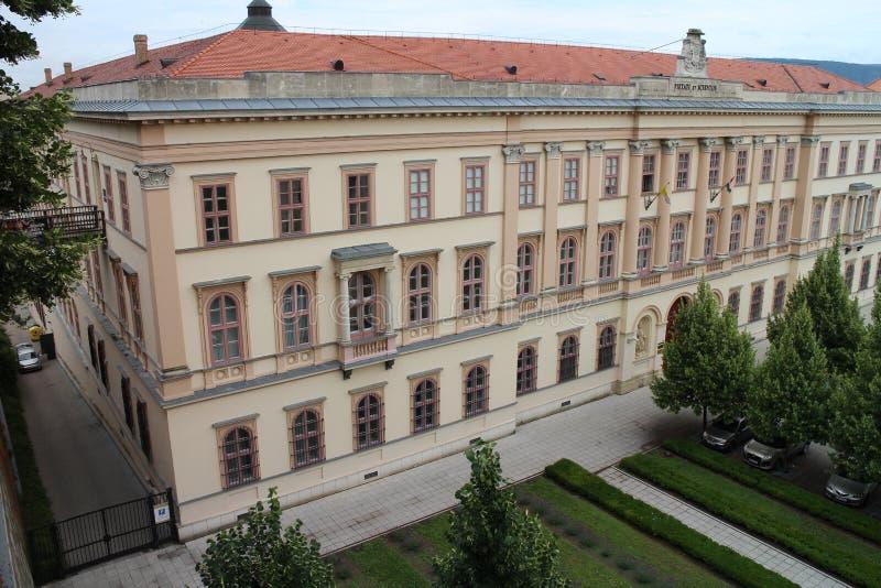 View from Esztergom Basilica to Szent Adalbert Center, Esztergom stock images