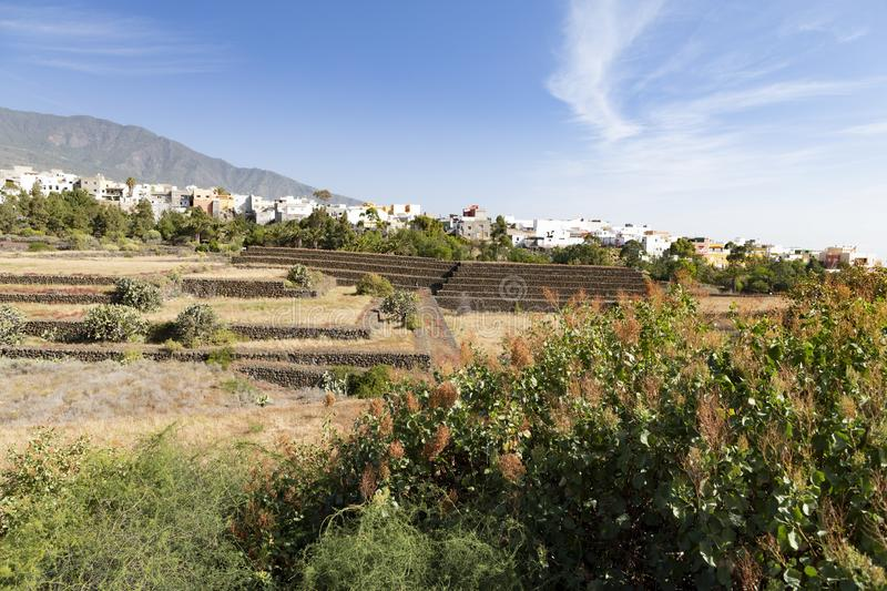 View from ethnographic park. View from the observation deck in the ethnographic park `Pyramids of Guimar`, Tenerife stock photography