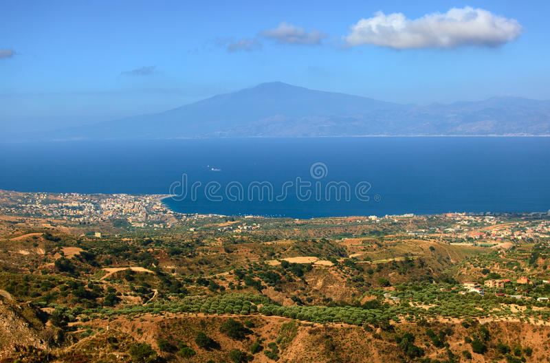 View on Etna from Aspromonte royalty free stock photography