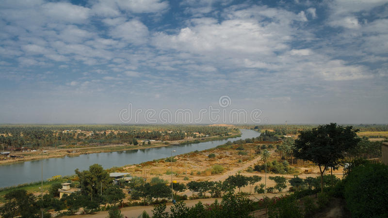 View Euphrates river from former Hussein palace, Hillah, Babyl Iraq royalty free stock photography