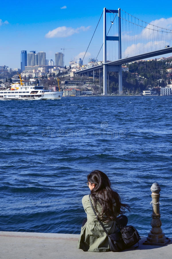 View of the European side of Istanbul from the Bosphorus. stock photo